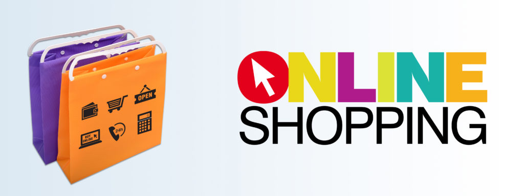 Online Shopping Banner with Shop Bags and Icons.